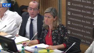 Yaël Braun-Pivet lors d'une réunion de la commission des lois, à l'Assemblée nationale, le 4 avril 2018. (LCP)