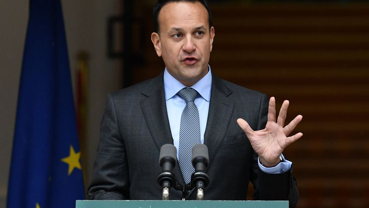Le Premier ministre irlandais sortant,Leo Varadkar, donne une conférence de presse à Dublin, le 14 janvier 2020. (BRYAN MEADE / AFP)