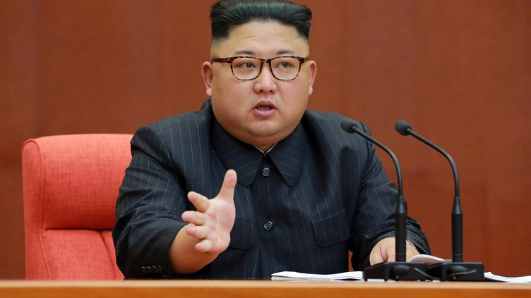 Le leader nord-coréen Kim Jong-un, le 7 octobre 2017, àPyongyang, en Corée du Nord. (STR / KCNA VIA KNS / AFP)