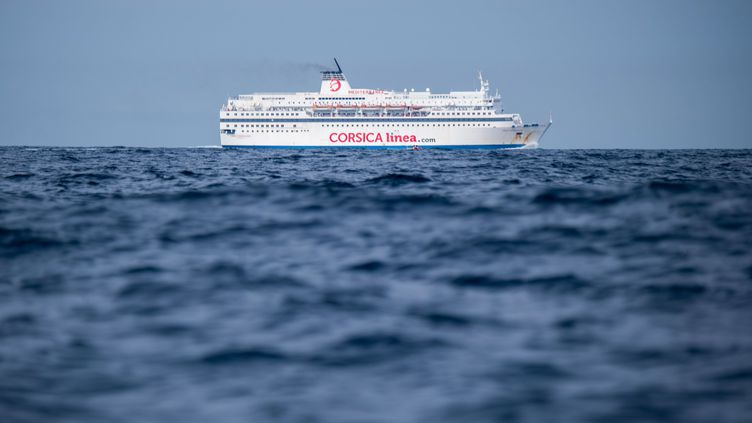 """Le ferry """"Méditerranée"""" près de Marseille, le 20 août 2019. (CHRISTOPHE SIMON / AFP)"""