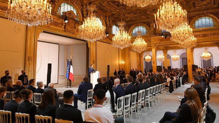 Discours du chef de l'État le 13 septembre 2021, devant les Français médaillés olympiques ou paralympiques à Tokyo. (MILLEREAU PHILIPPE / KMSP)