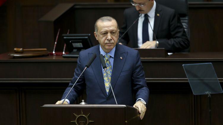 Le Premier ministre turc, Recep Tayyip Erdogan, le 23 octobre 2018 à Ankara (Turquie). (ERCIN TOP / ANADOLU AGENCY / AFP)