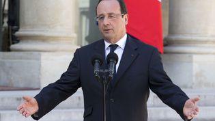 François Hollande, le 24 avril 2013, dans la cour de l'Elysée. (JACQUES BRINON / SIPA )