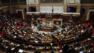 """Cent cinquante-quatre députés et sénateurs réclament à François Hollandela reconnaissance de l'Etat de Palestine, dans """"Le JDD"""" du 26 février 2017. (PATRICK KOVARIK / AFP)"""