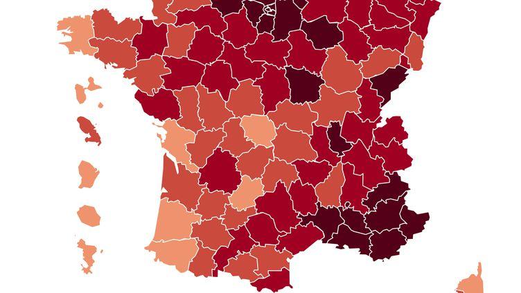 Le taux d'incidence par département au 27 mars 2021. (FRANCEINFO)