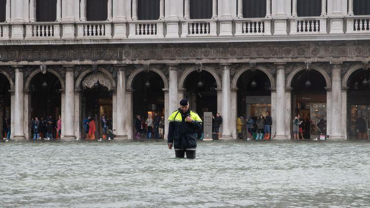 La ville de Venise (Italie) sous les eaux, le 29 octobre 2018. (GIACOMO COSUA / NURPHOTO / AFP)