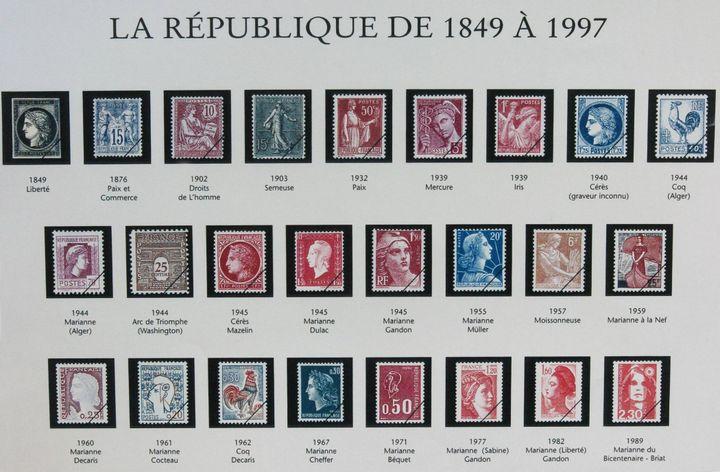 Les visages de la République depuis 1849, présentés lors du concours national du timbre à Bordeaux (Gironde), en 2004. ( / MAXPPP)