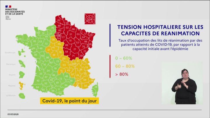 La carte de France de la tension hospitalière, au 1er mai 2020. (FRANCEINFO)