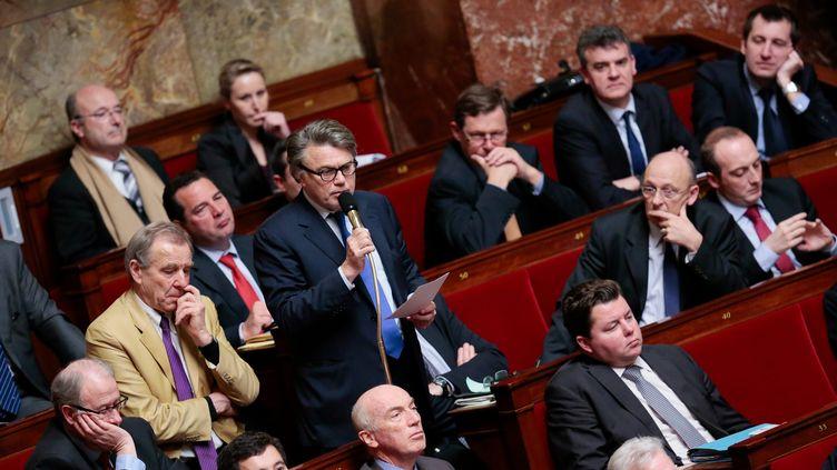 Le député frontiste Gilbert Collard au micro, sous le regard (au dernier rang) de Jacques Bompard et MarionMaréchal-Le Pen, le 15 janvier 2013 à l'Assemblée. (MAXPPP)