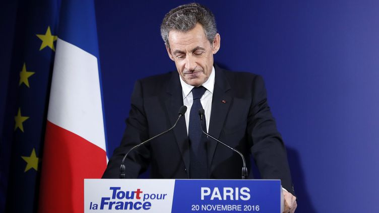 Nicolas Sarkozy reconnaît sa défaite, le 20 novembre 2016, à son QG parisien. (MAXPPP)
