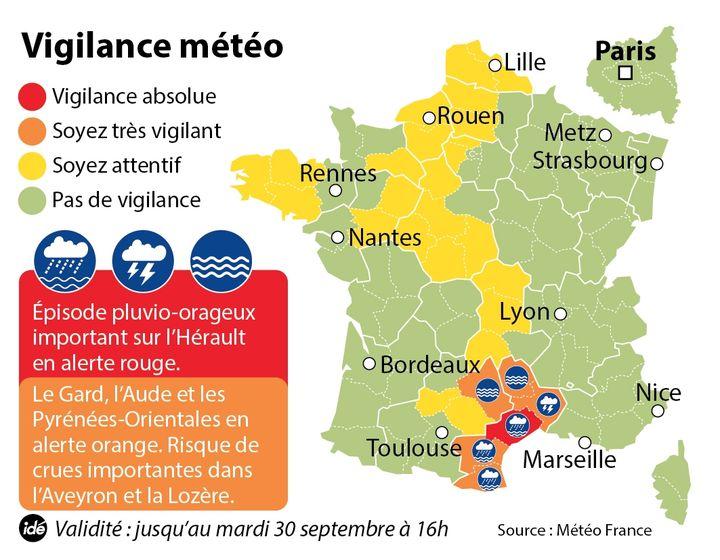 (Météo France a placé l'Hérault en vigilance rouge, le Gard, la Lozère, l'Aveyron l'Aude et les Pyrénées-Atlantiques en orange ©Idé)