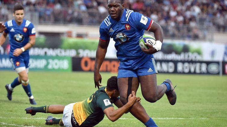 Jordan Joseph pendant le match opposant la France à l'Afrique du Sud, le 7 juin 2018 à Narbonne (Aude). (REMY GABALDA / AFP)