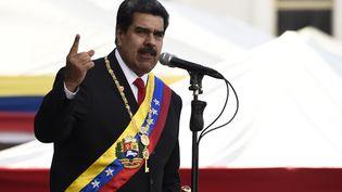 Le président du Venezuela, Nicolas Maduro, le 10 janvier 2019,investi pour un deuxième mandat. (FEDERICO PARRA / AFP)