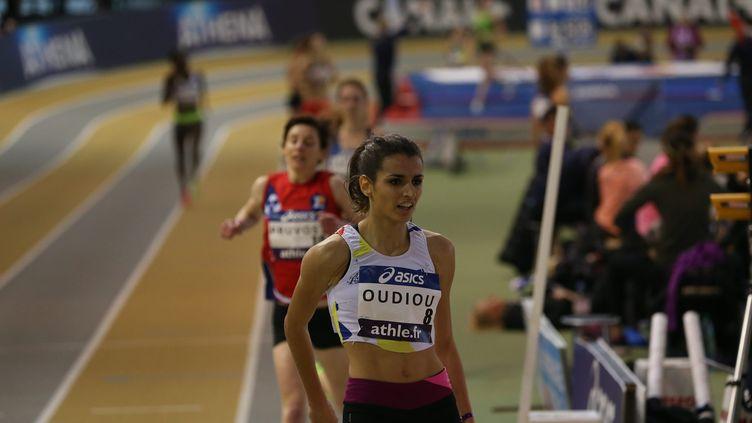 La spécialiste du 3 000 mètres steeple, Emma Oudiou. Ici au Stadium Jean Pellez à Aubière dans le Puy-de-Dôme. (MAXPPP)
