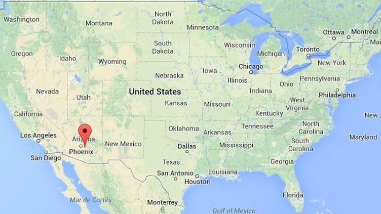 La petite ville de San Tan Valley dans l'Arizona (Etats-Unis), sur une capture d'écran de Google Maps, le 12 février 2014. (  FRANCETV INFO )