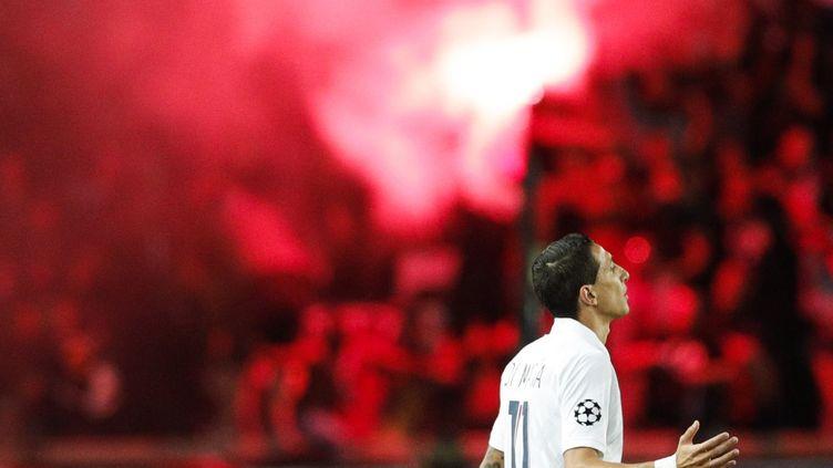 Angel di Maria célèbre son but, ouvrant le score 1-0 contre le Real Madrid (GEOFFROY VAN DER HASSELT / AFP)