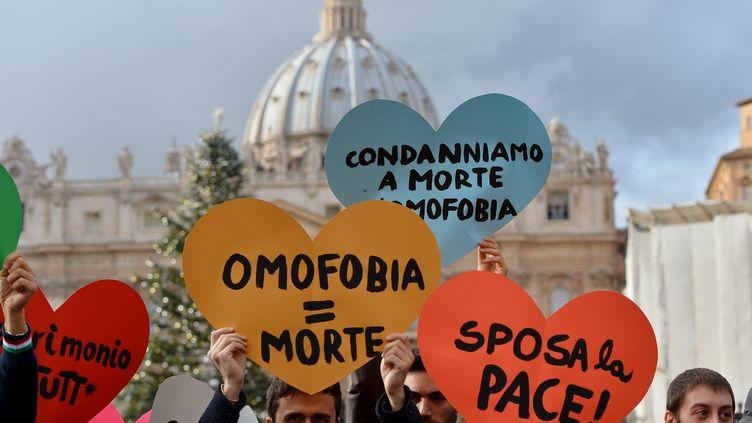 Les manifestants pro-mariage des homos au Vatican, le 16 décembre 2012. (VINCENZO PINTO / AFP)