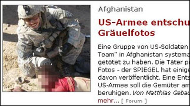 """Extrait du site """"Spiegel"""" montrant un soldat américain mis en cause en Afghanistan"""