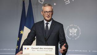 Le ministre de l'Economie, Bruno Le Maire, le 18 mars 2020 à l'Elysée. (LUDOVIC MARIN / AFP)