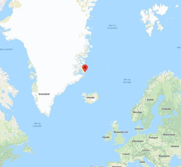 C'est à Ittoqqortoormiit, village de la côte est du Groenland, que débute le projet Greenlandia (GOOGLE MAPS)