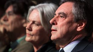 Penelope Fillon et François Fillon lors d'un meeting, à Paris, le9 avril 2017. (IRINA KALASHNIKOVA / SPUTNIK / AFP)