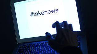 """Un écran d'ordinateuroù il est écrit """"#fakenews"""".  (HELMUT FOHRINGER / APA-PICTUREDESK / AFP)"""