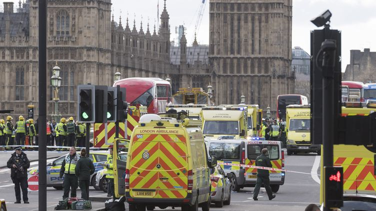 Des ambulances et des voitures de police stationnent à proximité du Parlement britannique après l'attaque à Londres, le 22 mars 2017. (ALEX MCNAUGHTON / SPUTNIK / AFP)