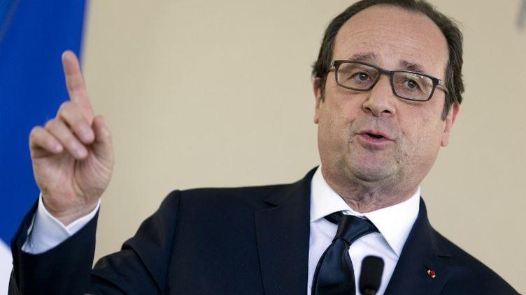 François Hollade au Collège de France, à Paris, mardi 17 mars 2015. (KENZO TRIBOUILLARD / AFP)
