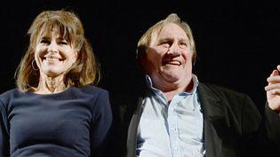 """Fanny Ardant et Gérard Depardieu en octobre 2015 au Théâtre de l'Estrade à Moscou, où ils ont interprété la pièce de Marguerite Duras """"La Musica deuxième"""".  (VASILY MAXIMOV / AFP)"""