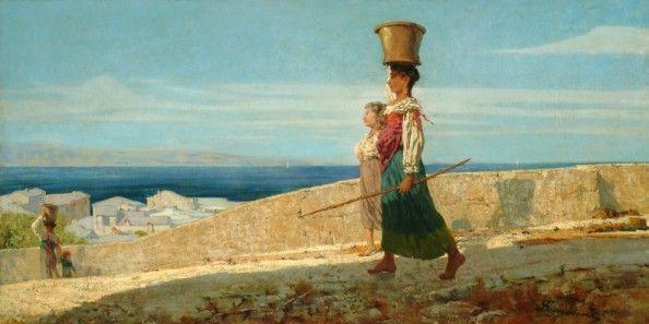Telemaco Signorini (1835-1901) Aquaiole a La Spezia (Porteuse d'eau à La Spezia, 1861-62 Huile sur toile, 60 x 118 cm  (Milano, Enrico Gallerie d'Arte)
