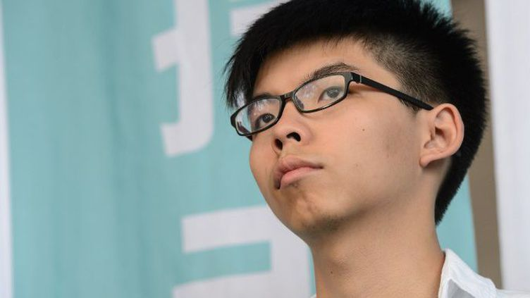 Joshua Wong, la «figure de la révolution des parapluies», a lancé son mouvement politique, Demosisto, le 10 avril 2016. (ANTHONY WALLACE / AFP)