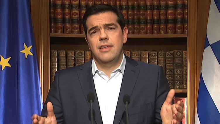 Le Premier ministre grec Alexis Tsipras, le 1er jullet 2015 à Athènes (Grèce). (ERT / AFP)