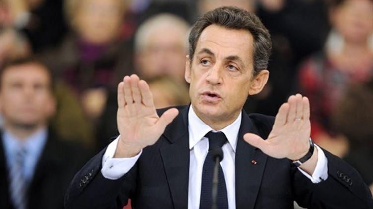 Nicolas Sarkozy à Mayet-de-Montagne le 25 novembre 2010 (AFP - ERIC FEFERBERG)