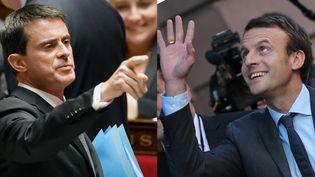 Manuel Valls à l'Assemblée nationale et Emmanuel Macron à Strasbourg, le 4 octobre 2016 (AFP / PHILIPPE LOPEZ / PATRICK HERTZOG)