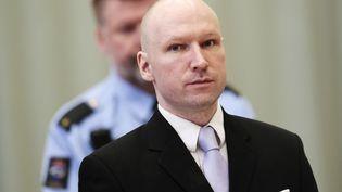 Anders Breivik, le 18 mars 2016, dans la prison de Skien (Norvège) où s'est déroulé le procès. (LISE ASERUD / AFP)
