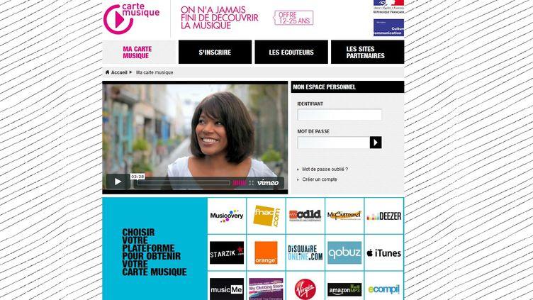 Capture d'écran du site Internet www.lacartemusique.fr (FTVi)