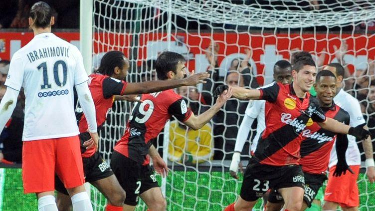 Jérémy Pied unique buteur sous les yeux de Zlatan Ibrahimovic. (FRED TANNEAU / AFP)