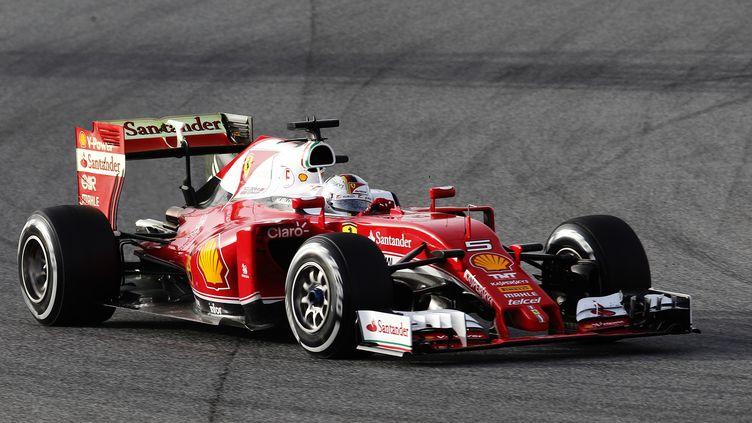 Sebastian Vettel et sa Ferrari (JOSE JORDAN / AFP)