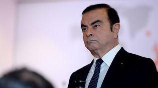 Carlos Ghosn, le PDG de Renault et Nissan, lors de la présentation des résultats du groupe en 2016, àBoulogne-Billancourt (Hauts-de-Seine), le 10 février 2017. (ERIC PIERMONT / AFP)