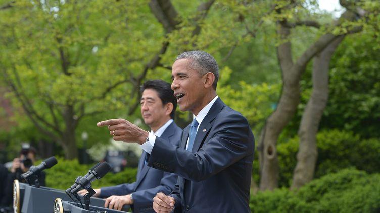 Le président Barack Obama lors d'une conférence de presse à Washington, le 28 avril 2015. (MANDEL NGAN / AFP)