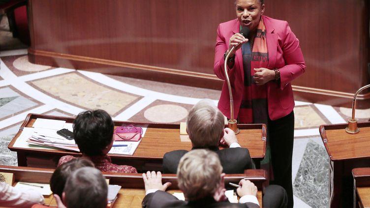 La garde des Sceaux, Christiane Taubira, a prononcé un discours mardi 12 février 2013, après l'adoption à l'Assemblée nationale du projet de loi ouvrant le mariage et l'adoption aux couples de même sexe. (JACQUES DEMARTHON / AFP)