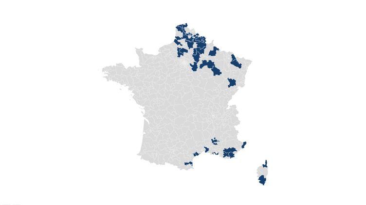 Les circonscriptions législatives dans lesquelles Marine Le Pen est arrivée en tête au second tour de l'élection présidentielle, le 7 mai 2017. (CARTO / FRANCEINFO)