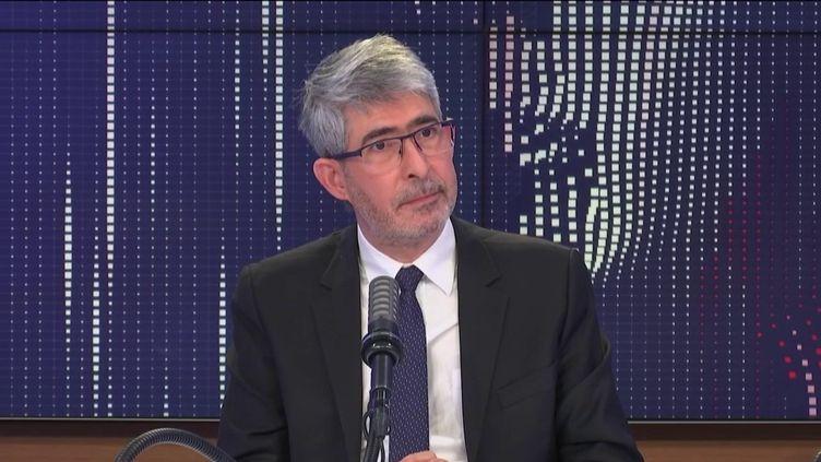 """Gilles Bloch, président-directeur général de l'Inserm, était l'invité du """"8h30 franceinfo"""", mercredi 10 mars 2021. (FRANCEINFO / RADIOFRANCE)"""