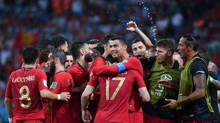 Les Portugais fêtent le deuxième des trois buts de Cristiano Ronaldo lors du match du premier tour de la Coupe du monde contre l'Espagne, le 15 juin 2018 à Sotchi (Russie). (NELSON ALMEIDA / AFP)
