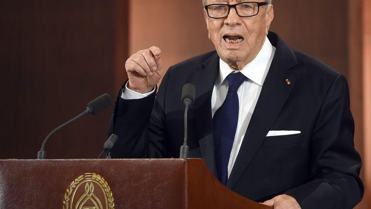 Le président Béji Caïd Essebsi lors d'une cérémonie célébrant l'indépendance de la Tunisie, le 20 mars 2015 à Tunis. (FETHI BELAID / AFP)