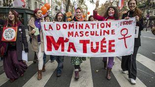"""Manifestation du 22 novembre 2014 à Paris, Collectif """" Droit des femmes"""" (MICHAEL BUNEL / NURPHOTO)"""
