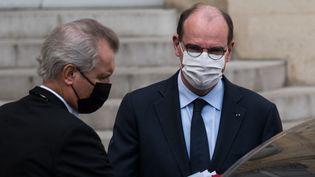 Le Premier ministre Jean Castex à la sortie du Conseil des ministres, le 8 avril 2021 à l'Elysée. (ANDREA SAVORANI NERI / NURPHOTO / VIA AFP)