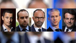 Les cinq responsables Les Républicains menacés d'exclusion (de gauche à droite) : Gérald Darmanin, Sébastien Lecornu, Edouard Philippe, Franck Riester et Thierry Solère. (AFP / FRANCEINFO)