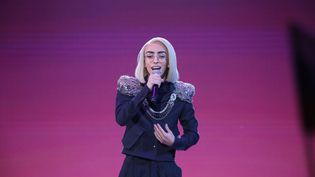 """Bilal Hassani, le 26 janvier 2016, lors de la finale de """"Destination Eurovision"""", à La Plaine-Saint-Denis. (MAXPPP)"""