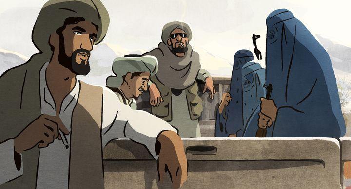 """Images des Talibans, tirée du film des """"Hirondelles de Kaboul"""". (Memento Films Distribution)"""